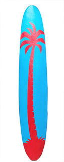 Surfboard Longboard Red & Blue Palm design (2.8m x 0.6m)