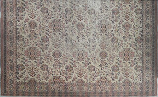 Rug Floral Cream w/Brown/Orange (2.25m x 3.1m)