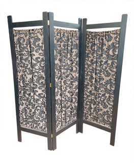 #03 Screen Black Frame With Gold/Black Fabric (H190cm x W180cm)