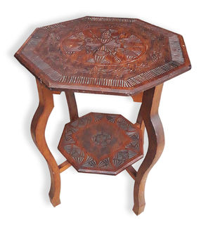 Coffee Table #008 Octagonal Carved Top (H71cm D56cm W56cm)