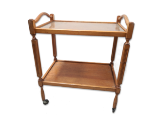 Oak Trolley #054 Glass Tops  (H77cm W63cm D43cm)