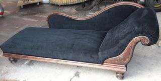 Chaise Lounge #11 Black w/ Brown Wood (1.9 x 0.6m)