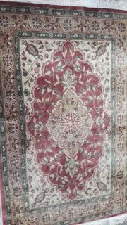 Carpet Persian Red, Cream and Green (1.5 x 0.93m)