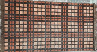 Rug Orange/ Brown Tartan 1.3 x 0.7m