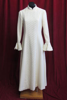 Wedding Dress Cream High Collar Flutter Cuffs 70s 14