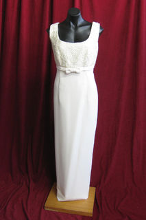 Wedding Dress Cream Straight, Sleeveless with Bow 41050329 14