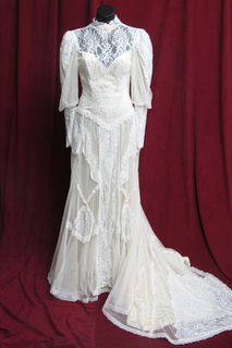 WeddingWedding Dress Victorian Style High Neck Lacey sz. 10. 45320094