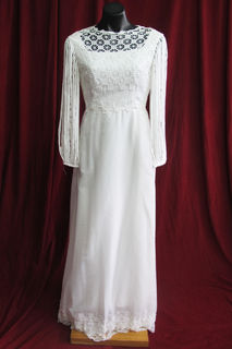 Wedding Dress 1970s Lace Bodice Spaghetti Sz. 10