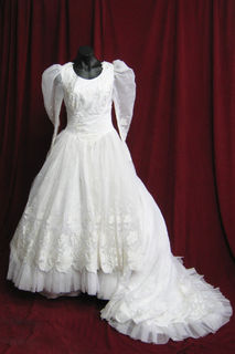 Wedding Dress Mutton Chop Sleeves Full Skirt sz. 12 45328510