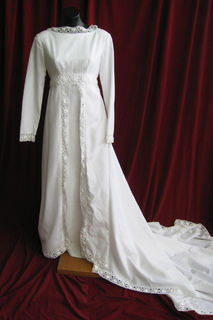 Wedding Dress 1970s High Neck Lace Trim sz. 12 45320355