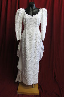 Wedding Dress Brocade Mutton Chop Sleeves Satin Train sz. 10 45320128