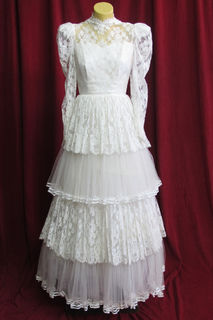 Wedding Dress Lace High Neck Layered Lace sz.8 45320027