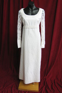 Wedding Dress 1960s Lace Sleeves Straight Sz. 10 45320135