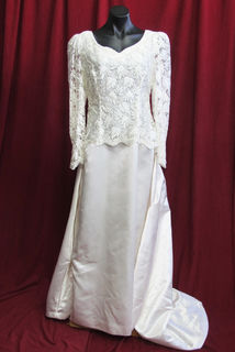 Wedding Dress Cream Lace Bodice sz.14-16