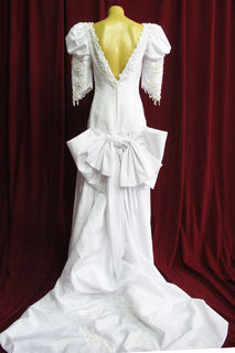 Wedding Dress Mutton Chop Sleeves Large Bow, Back View