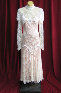 Wedding Dress 1920s Pink with Over lace sz.8 45320143