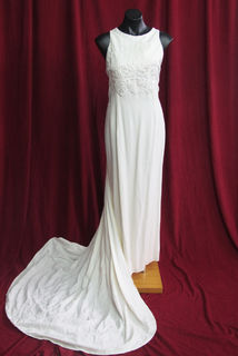 Wedding Dress cream Sleeveless Brocade Bodice Long Train sz.10 45326120