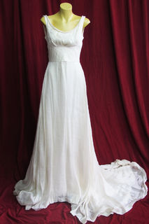 Wedding Dress Sleeveless Cream Organza sz.8 45320088