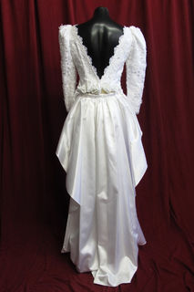 Wedding Dress Brocade Mutton Chop Sleeves Satin Train sz. 10 45320128 Back View