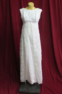 Wedding Dress 1960s  Sleeveless Empire Line Beaded sz.8 45326121