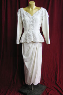 Wedding Suit 1980s Cream Beaded sz.8 45320072