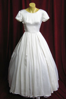 Wedding Dress 1950s White Satin Short Sleeves