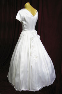 Wedding Dress 1950s White Satin Short Sleeves Back View