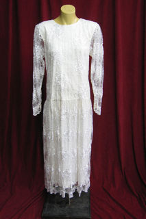 Wedding Dress 1920s Cream Straight Lace sz.10 41120105