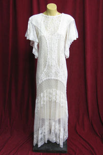 Wedding Dress 1920s Cream Lace Handkerchief Hem sz.10 45328528