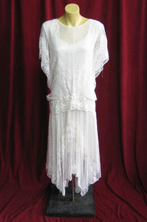 Wedding Dress 1920s Cream Lace Handkercheif Hem sz. 10 45019749