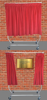 Drawstring Red Velvet Curtain for Plaque on Chrome Stand (Curtains L: 1.28m x H: 1.67m)