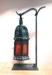 Table Candelabra Moroccan Lantern, Red Glass w/ Stand (0.3 m)