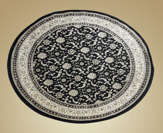 Persian Mat Round Black and Cream. (1.7m)