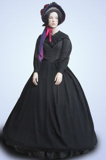 Black 2 Piece with Hoop and Bonnet Mid 1800s