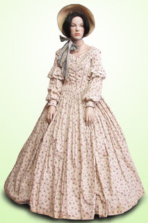 Dress with Hoop Cream with Small Flower Print 1840s with Straw Bonnet