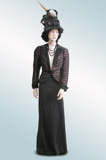 Skirt and Maroon Stripe Taffeta Jacket with Hat with Feathers 1900s