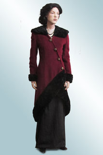 Maroon Wool Coat with Fake Astrakhan Collar and Trim, 1900s