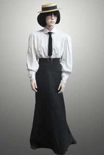 Blouse and Straight Skirt Plus Tie and Boater