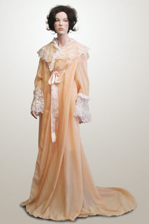 Dressing Gown Pale Peach with Lace Trim