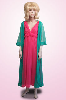 Pink Nightie and Green Dressing Gown Nylon