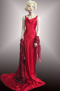 Evening Gown Red Shiny with Train