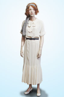 Cream Silk Dress with Tie Front 1920s/30s