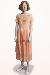 Dress Peach Organza with Embroidery Flowers