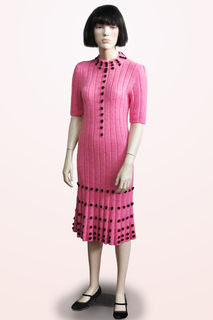 Dress Pink Knitted with Black Balls 1920s/30s