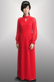 Evening Gown Red with Sheer Sleeves 1960s