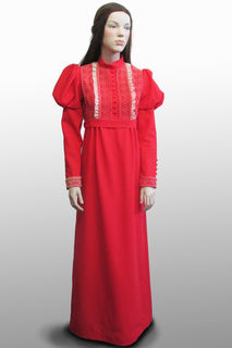Long Red Dress with Mutton Chop Sleeves 1970s