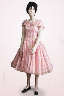 Dress Pink with Gold Stripes 1950s