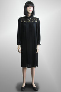 Dress Black Chiffon Pleated with Gold Detail