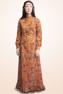Dress Long Brown/Yellow Patterned 1970s