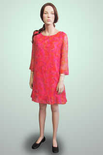Shift Dress Pink Swirly 1960s/70s